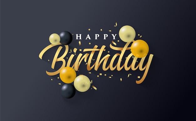 Gelukkige verjaardag achtergrond met goud en een paar ballonnen op zwart Premium Vector
