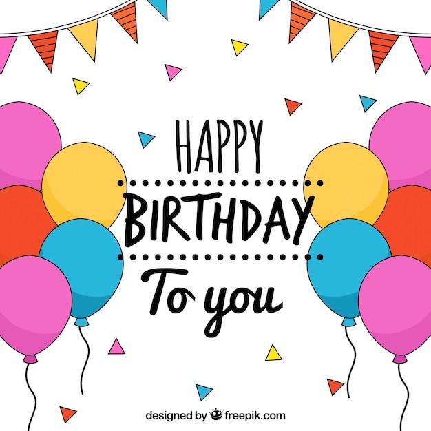 Gelukkige Verjaardag Achtergrond Met Tekeningen Van Ballonnen En