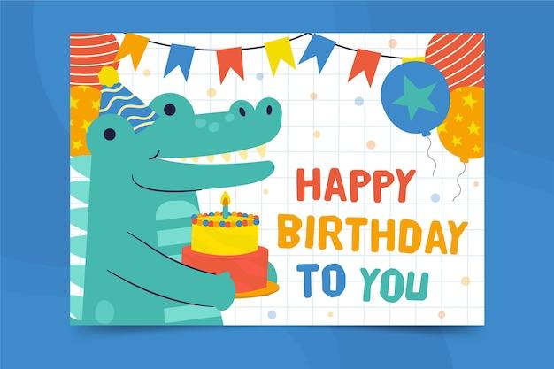 Gelukkige verjaardag alligator vierkante flyer afdruksjabloon Gratis Vector