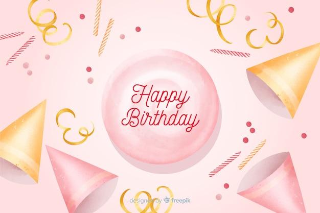 Gelukkige verjaardag aquarel achtergrond met confetti Gratis Vector