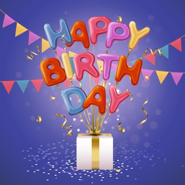 Gelukkige verjaardag ballon brieven achtergrond Gratis Vector