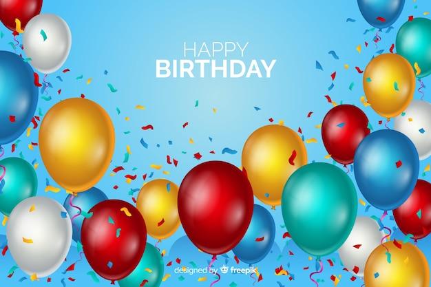 Gelukkige verjaardag ballonnen achtergrond Gratis Vector