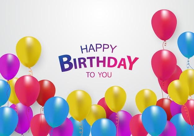 Gelukkige verjaardag ballonnen Premium Vector