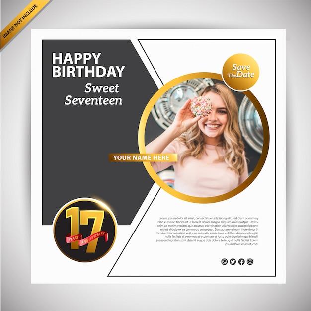 Gelukkige verjaardag banner promotie sjabloon Premium Vector