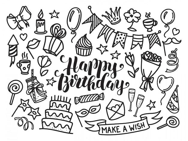 Gelukkige verjaardag belettering en doodle set Premium Vector