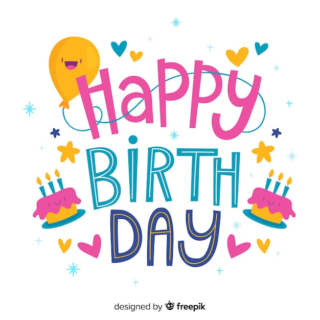 Gelukkige verjaardag belettering met ballon en cake Gratis Vector