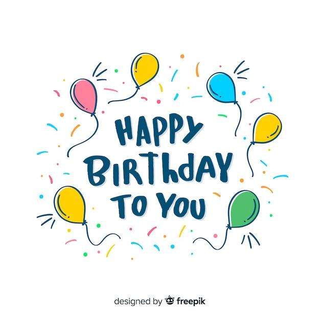 Gelukkige verjaardag belettering met ballonnen Gratis Vector