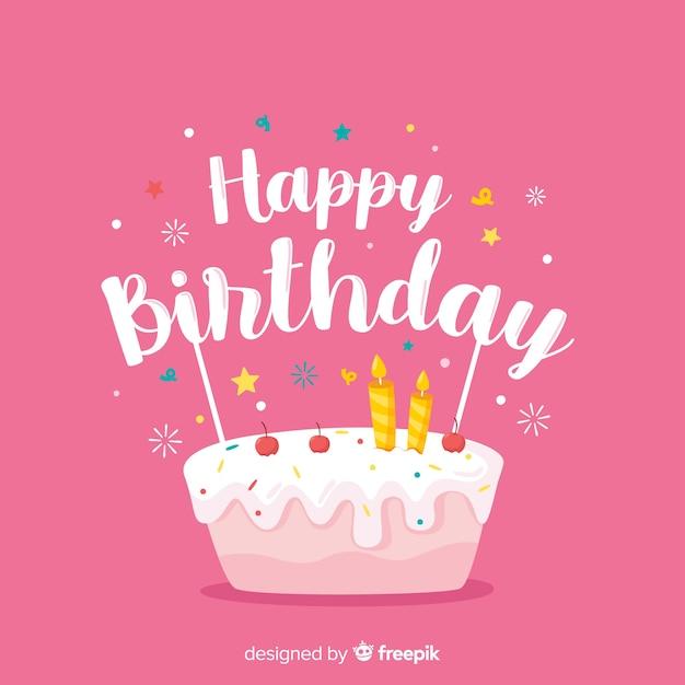 Gelukkige verjaardag belettering op roze achtergrond Gratis Vector