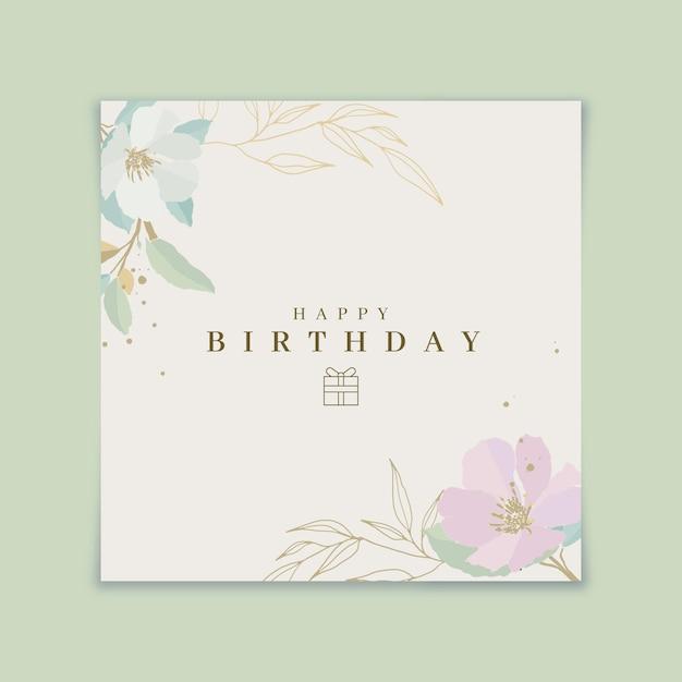 Gelukkige verjaardag bloeiende bloemen kaart Gratis Vector