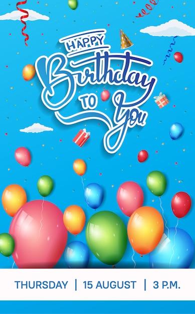 Gelukkige verjaardag brochureontwerp voor viering met kleurrijke verjaardag element Premium Vector