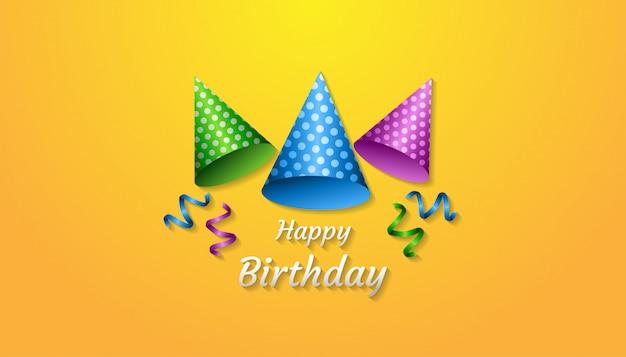 Gelukkige verjaardag concept met realistische feest hoed, lint, confetti en tekst Premium Vector