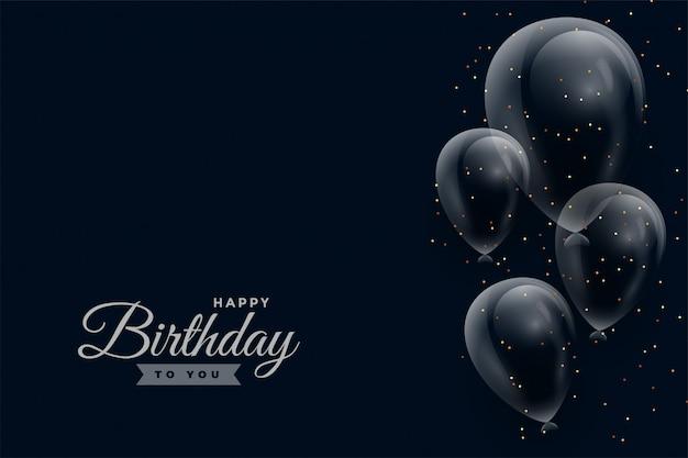 Gelukkige verjaardag donkere achtergrond met glanzende ballonnen Gratis Vector