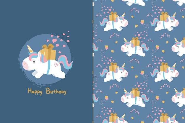 Gelukkige verjaardag eenhoorn naadloze patroon Premium Vector