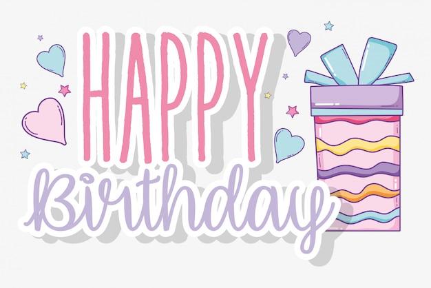 Gelukkige verjaardag en heden met lintboog Premium Vector
