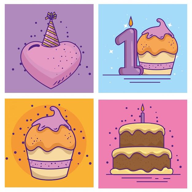 Gelukkige verjaardag-evenement met decoratie instellen Gratis Vector