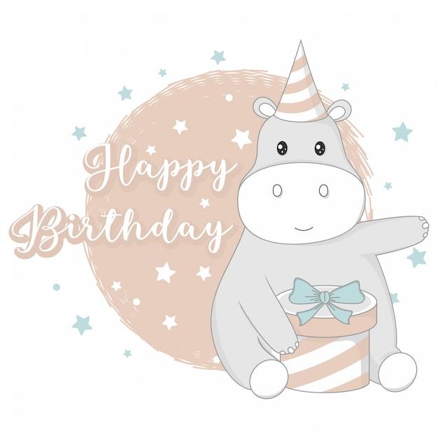 Gelukkige verjaardag groeten met schattige dieren Premium Vector