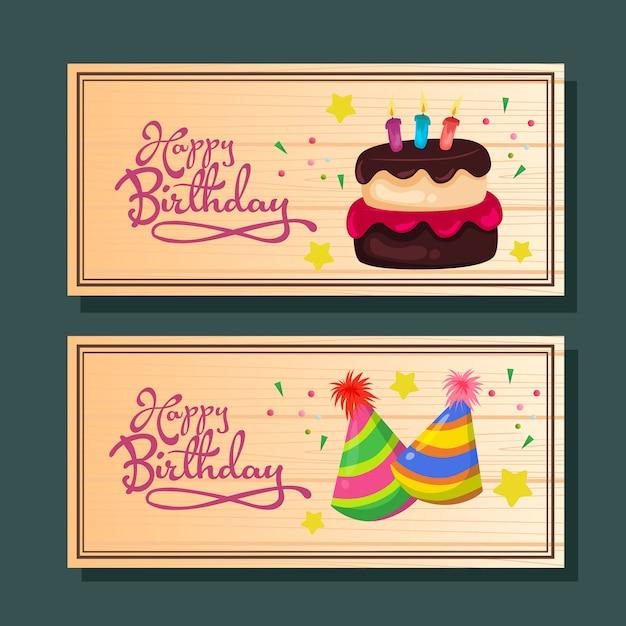 Gelukkige verjaardag horizontale wenskaart of banner met cake en feest hoed Premium Vector