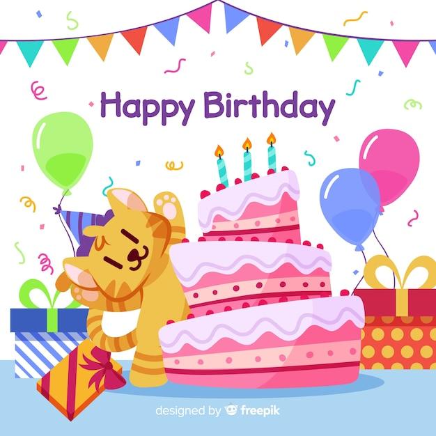 Gelukkige verjaardag illustratie met cake en ballonnen Gratis Vector