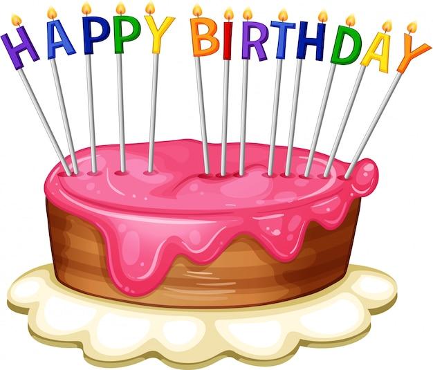 Gelukkige verjaardag kaartsjabloon met roze cake Gratis Vector