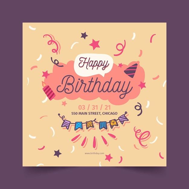 Gelukkige verjaardag kaartsjabloon Gratis Vector