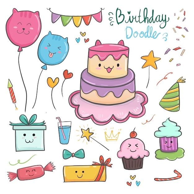 Gelukkige verjaardag kawaii elementen met schattig thema van de kat en kleurrijke items. Premium Vector