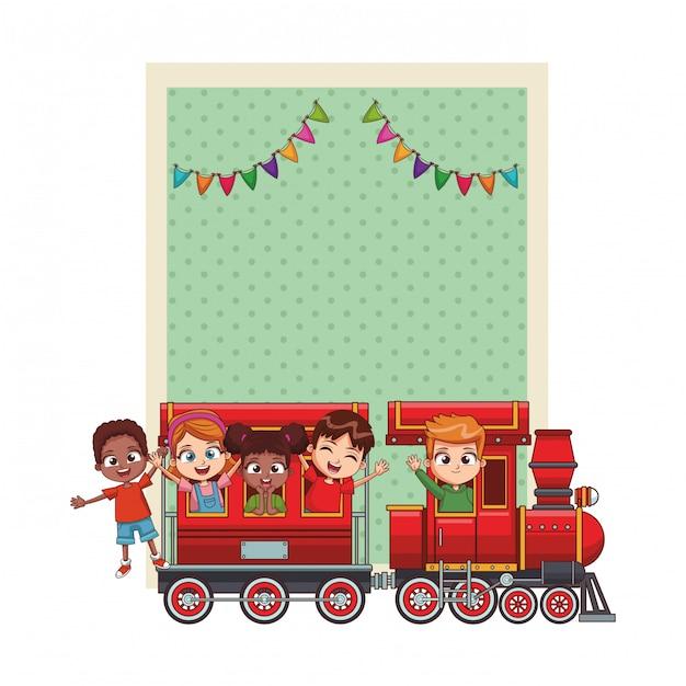 Gelukkige verjaardag kinderen kaart Premium Vector
