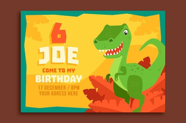 Gelukkige verjaardag kinderen uitnodiging met dinosaurus Premium Vector