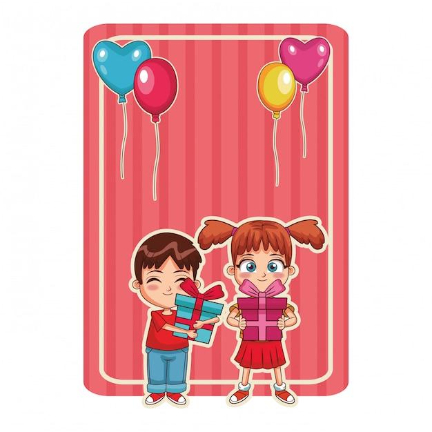 Gelukkige verjaardag kinderen Premium Vector