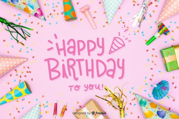 Gelukkige verjaardag kleurrijke letters met foto Gratis Vector