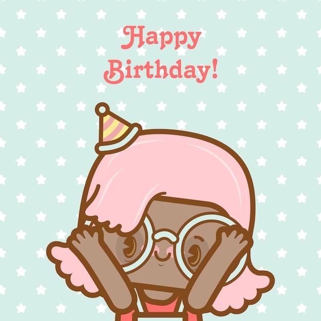 Gelukkige verjaardag meisje kaart met sterren Premium Vector