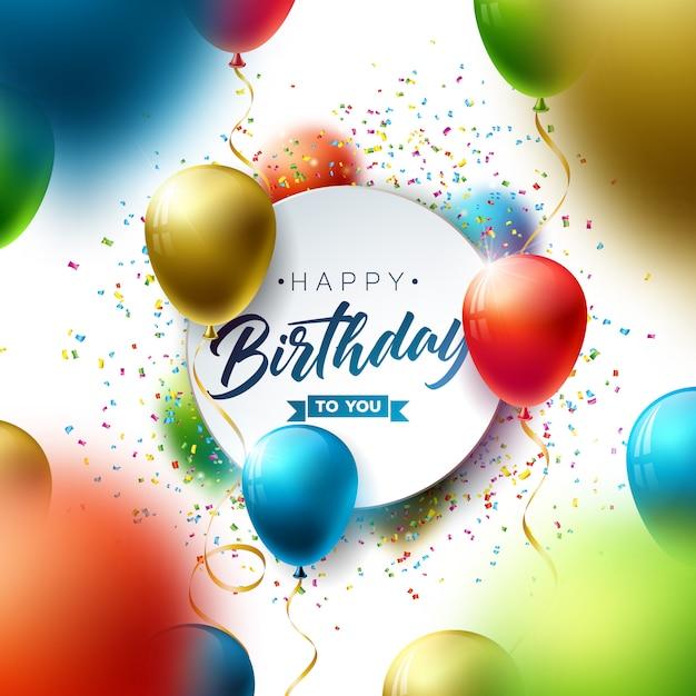 Gelukkige verjaardag met ballon, typografie en vallende confetti. Gratis Vector
