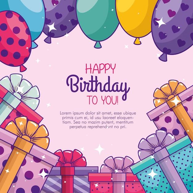 Gelukkige verjaardag met ballonnen en geschenken Gratis Vector