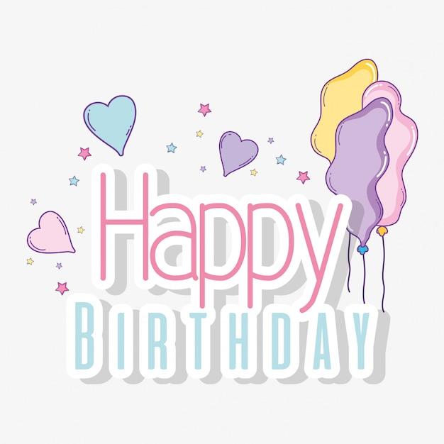 Gelukkige verjaardag met ballonnen en harten decoratie Premium Vector