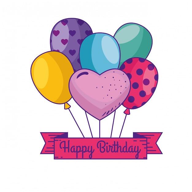 Gelukkige verjaardag met ballonnen en lintdecoratie Gratis Vector