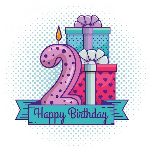 Gelukkige verjaardag met kaars nummer twee decoratie Gratis Vector