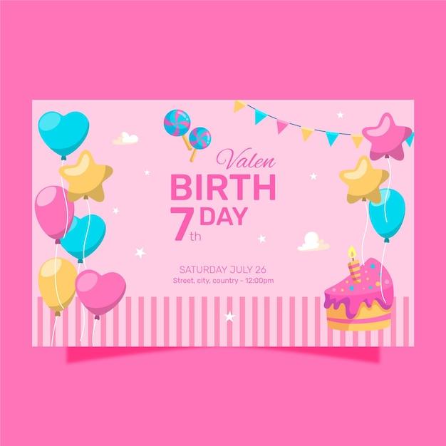 Gelukkige verjaardag met kleurrijke gevormde ballonnen Gratis Vector