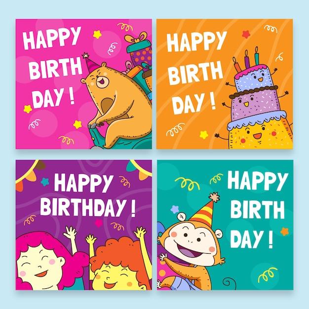 Gelukkige verjaardag met kleurrijke sjablonen voor verjaardagsfeestje Gratis Vector