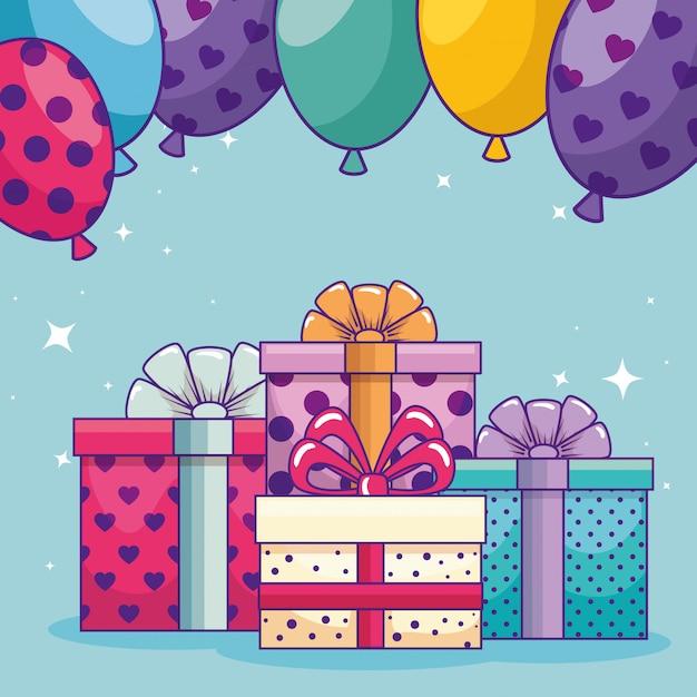 Gelukkige verjaardag met presenteert geschenken en ballonnen Gratis Vector