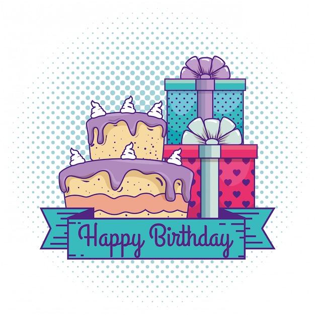 Gelukkige verjaardag met presenteert geschenken en cake Gratis Vector