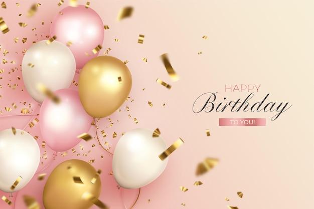 Gelukkige verjaardag met realistische ballonnen in zachte kleuren Gratis Vector