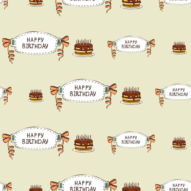 Gelukkige verjaardag naadloze patroon Gratis Vector