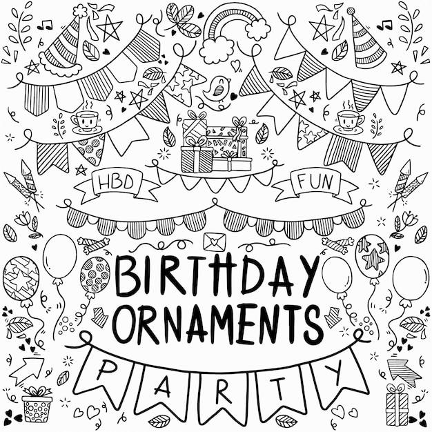 Gelukkige verjaardag ornamenten uit de vrije hand getrokken doodle partij set Premium Vector