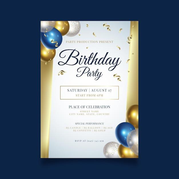 Gelukkige verjaardag partij poster sjabloon Premium Vector