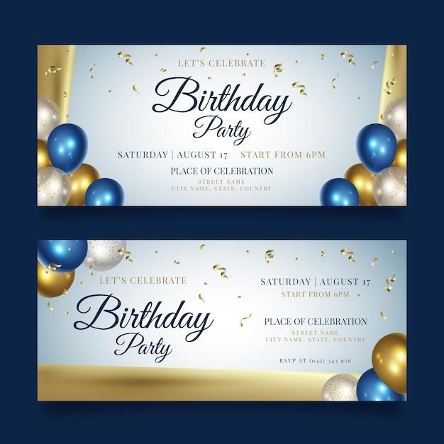 Gelukkige verjaardag partij sjabloon voor spandoek Premium Vector