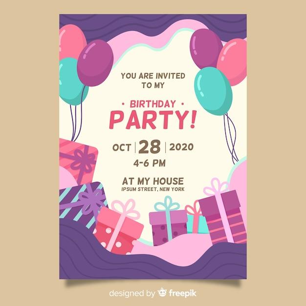 Nieuw Gelukkige verjaardag partij uitnodiging sjabloon | Gratis Vector OY-22