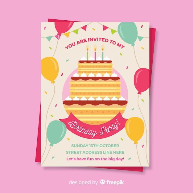 Gelukkige verjaardag partij uitnodiging sjabloon Gratis Vector