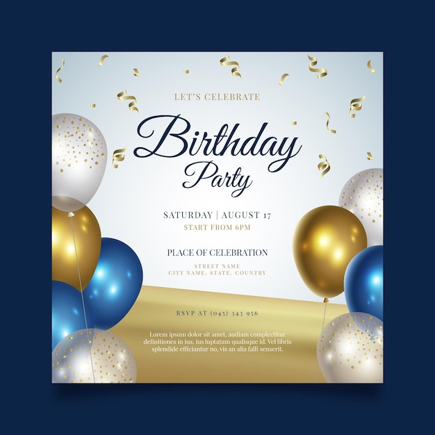 Gelukkige verjaardag partij vierkante flyer-sjabloon Premium Vector