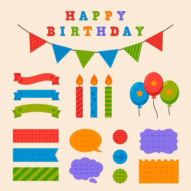 Gelukkige verjaardag plakboek set Gratis Vector