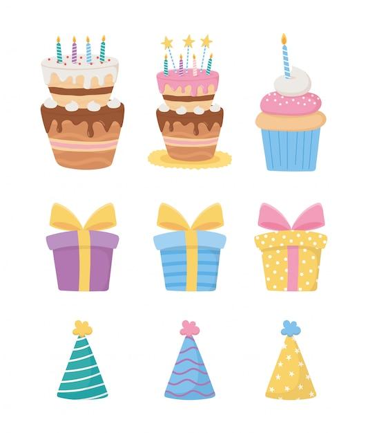 Gelukkige verjaardag, taarten met kaarsen cupcake geschenkdozen feestmutsen decoratie viering pictogrammen Premium Vector