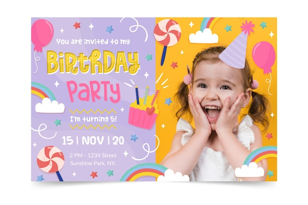 Gelukkige verjaardag uitnodiging sjabloon Gratis Vector